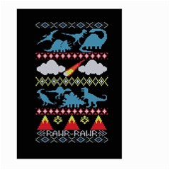 My Grandma Likes Dinosaurs Ugly Holiday Christmas Black Background Large Garden Flag (two Sides)