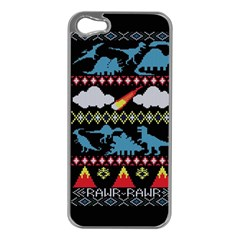 My Grandma Likes Dinosaurs Ugly Holiday Christmas Black Background Apple iPhone 5 Case (Silver)
