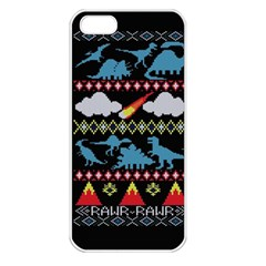 My Grandma Likes Dinosaurs Ugly Holiday Christmas Black Background Apple Iphone 5 Seamless Case (white)