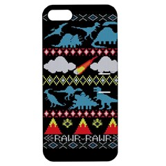 My Grandma Likes Dinosaurs Ugly Holiday Christmas Black Background Apple iPhone 5 Hardshell Case with Stand