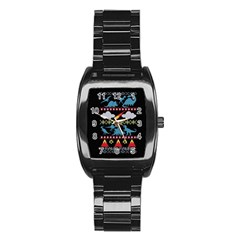 My Grandma Likes Dinosaurs Ugly Holiday Christmas Black Background Stainless Steel Barrel Watch
