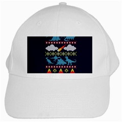 My Grandma Likes Dinosaurs Ugly Holiday Christmas Blue Background White Cap