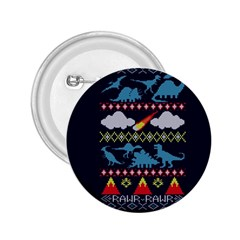 My Grandma Likes Dinosaurs Ugly Holiday Christmas Blue Background 2.25  Buttons