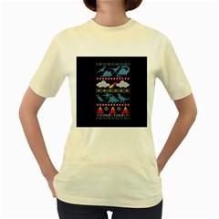 My Grandma Likes Dinosaurs Ugly Holiday Christmas Blue Background Women s Yellow T-Shirt