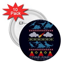 My Grandma Likes Dinosaurs Ugly Holiday Christmas Blue Background 2.25  Buttons (10 pack)