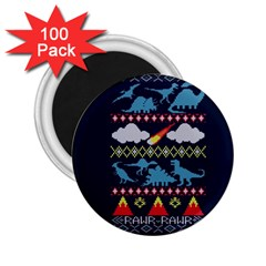 My Grandma Likes Dinosaurs Ugly Holiday Christmas Blue Background 2.25  Magnets (100 pack)