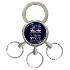 My Grandma Likes Dinosaurs Ugly Holiday Christmas Blue Background 3-Ring Key Chains