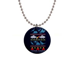 My Grandma Likes Dinosaurs Ugly Holiday Christmas Blue Background Button Necklaces
