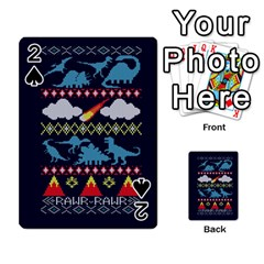 My Grandma Likes Dinosaurs Ugly Holiday Christmas Blue Background Playing Cards 54 Designs