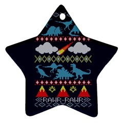My Grandma Likes Dinosaurs Ugly Holiday Christmas Blue Background Star Ornament (Two Sides)