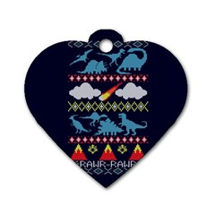 My Grandma Likes Dinosaurs Ugly Holiday Christmas Blue Background Dog Tag Heart (One Side)