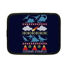My Grandma Likes Dinosaurs Ugly Holiday Christmas Blue Background Netbook Case (Small)