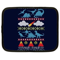 My Grandma Likes Dinosaurs Ugly Holiday Christmas Blue Background Netbook Case (Large)