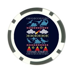 My Grandma Likes Dinosaurs Ugly Holiday Christmas Blue Background Poker Chip Card Guards (10 pack)