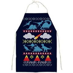 My Grandma Likes Dinosaurs Ugly Holiday Christmas Blue Background Full Print Aprons