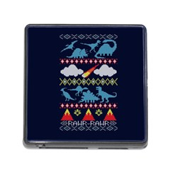 My Grandma Likes Dinosaurs Ugly Holiday Christmas Blue Background Memory Card Reader (square)