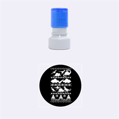 My Grandma Likes Dinosaurs Ugly Holiday Christmas Blue Background Rubber Round Stamps (small)