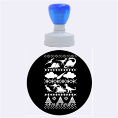 My Grandma Likes Dinosaurs Ugly Holiday Christmas Blue Background Rubber Round Stamps (large)