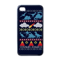 My Grandma Likes Dinosaurs Ugly Holiday Christmas Blue Background Apple Iphone 4 Case (black)