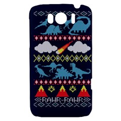 My Grandma Likes Dinosaurs Ugly Holiday Christmas Blue Background HTC Sensation XL Hardshell Case
