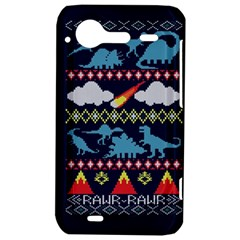My Grandma Likes Dinosaurs Ugly Holiday Christmas Blue Background HTC Incredible S Hardshell Case