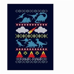 My Grandma Likes Dinosaurs Ugly Holiday Christmas Blue Background Small Garden Flag (two Sides)