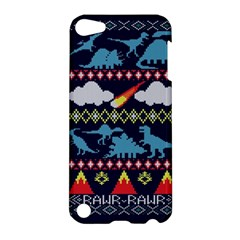 My Grandma Likes Dinosaurs Ugly Holiday Christmas Blue Background Apple Ipod Touch 5 Hardshell Case