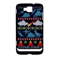My Grandma Likes Dinosaurs Ugly Holiday Christmas Blue Background Samsung Ativ S i8750 Hardshell Case