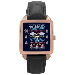 My Grandma Likes Dinosaurs Ugly Holiday Christmas Blue Background Rose Gold Leather Watch