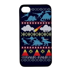 My Grandma Likes Dinosaurs Ugly Holiday Christmas Blue Background Apple iPhone 4/4S Hardshell Case with Stand