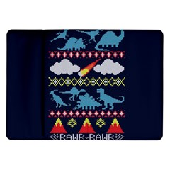 My Grandma Likes Dinosaurs Ugly Holiday Christmas Blue Background Samsung Galaxy Tab 10.1  P7500 Flip Case