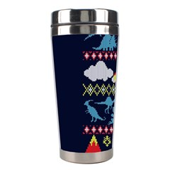 My Grandma Likes Dinosaurs Ugly Holiday Christmas Blue Background Stainless Steel Travel Tumblers