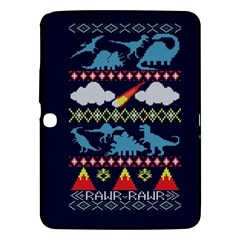 My Grandma Likes Dinosaurs Ugly Holiday Christmas Blue Background Samsung Galaxy Tab 3 (10.1 ) P5200 Hardshell Case