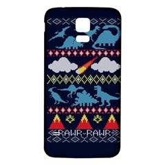 My Grandma Likes Dinosaurs Ugly Holiday Christmas Blue Background Samsung Galaxy S5 Back Case (White)