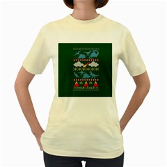 My Grandma Likes Dinosaurs Ugly Holiday Christmas Green Background Women s Yellow T Shirt