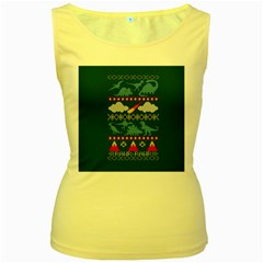 My Grandma Likes Dinosaurs Ugly Holiday Christmas Green Background Women s Yellow Tank Top