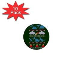 My Grandma Likes Dinosaurs Ugly Holiday Christmas Green Background 1  Mini Buttons (10 pack)