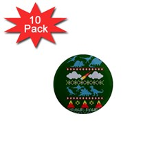 My Grandma Likes Dinosaurs Ugly Holiday Christmas Green Background 1  Mini Magnet (10 pack)