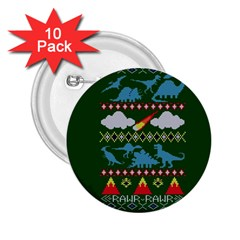 My Grandma Likes Dinosaurs Ugly Holiday Christmas Green Background 2.25  Buttons (10 pack)