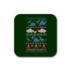 My Grandma Likes Dinosaurs Ugly Holiday Christmas Green Background Rubber Square Coaster (4 pack)