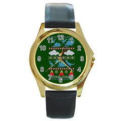 My Grandma Likes Dinosaurs Ugly Holiday Christmas Green Background Round Gold Metal Watch