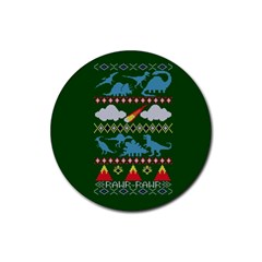 My Grandma Likes Dinosaurs Ugly Holiday Christmas Green Background Rubber Coaster (Round)