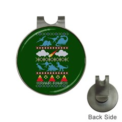 My Grandma Likes Dinosaurs Ugly Holiday Christmas Green Background Hat Clips with Golf Markers