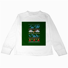 My Grandma Likes Dinosaurs Ugly Holiday Christmas Green Background Kids Long Sleeve T-Shirts