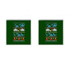 My Grandma Likes Dinosaurs Ugly Holiday Christmas Green Background Cufflinks (Square)