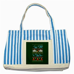 My Grandma Likes Dinosaurs Ugly Holiday Christmas Green Background Striped Blue Tote Bag