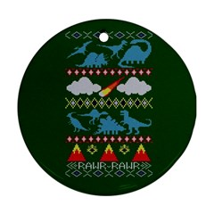 My Grandma Likes Dinosaurs Ugly Holiday Christmas Green Background Round Ornament (Two Sides)