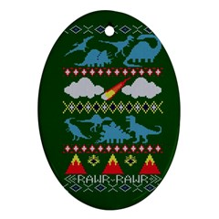 My Grandma Likes Dinosaurs Ugly Holiday Christmas Green Background Oval Ornament (Two Sides)
