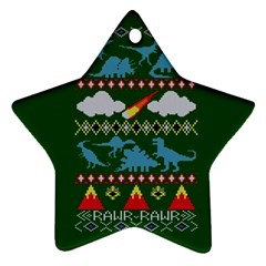 My Grandma Likes Dinosaurs Ugly Holiday Christmas Green Background Star Ornament (two Sides)