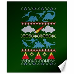My Grandma Likes Dinosaurs Ugly Holiday Christmas Green Background Canvas 8  x 10